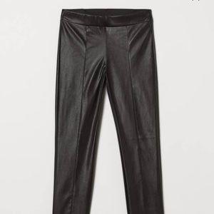 H&M Black Faux Leather Leggings High waist EUC